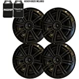 """KICKER Black OEM Replacement Marine 6.5"""" 4 Ohm Coaxial Speaker Bundle - 4 Speakers"""