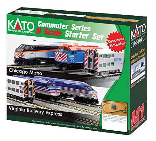 Kato USA Model Train Products N MP36PH and Gallery Bi-Level Commuter Series Chicago Metra UNITRACK Starter Set Dcc Starter