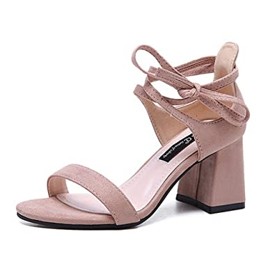 bf3b24fafc4 Xianshu Women s Block Heel Sandals Sweet Bow Tie Lace up Shoes Peep Toe Mid  Heel Summer