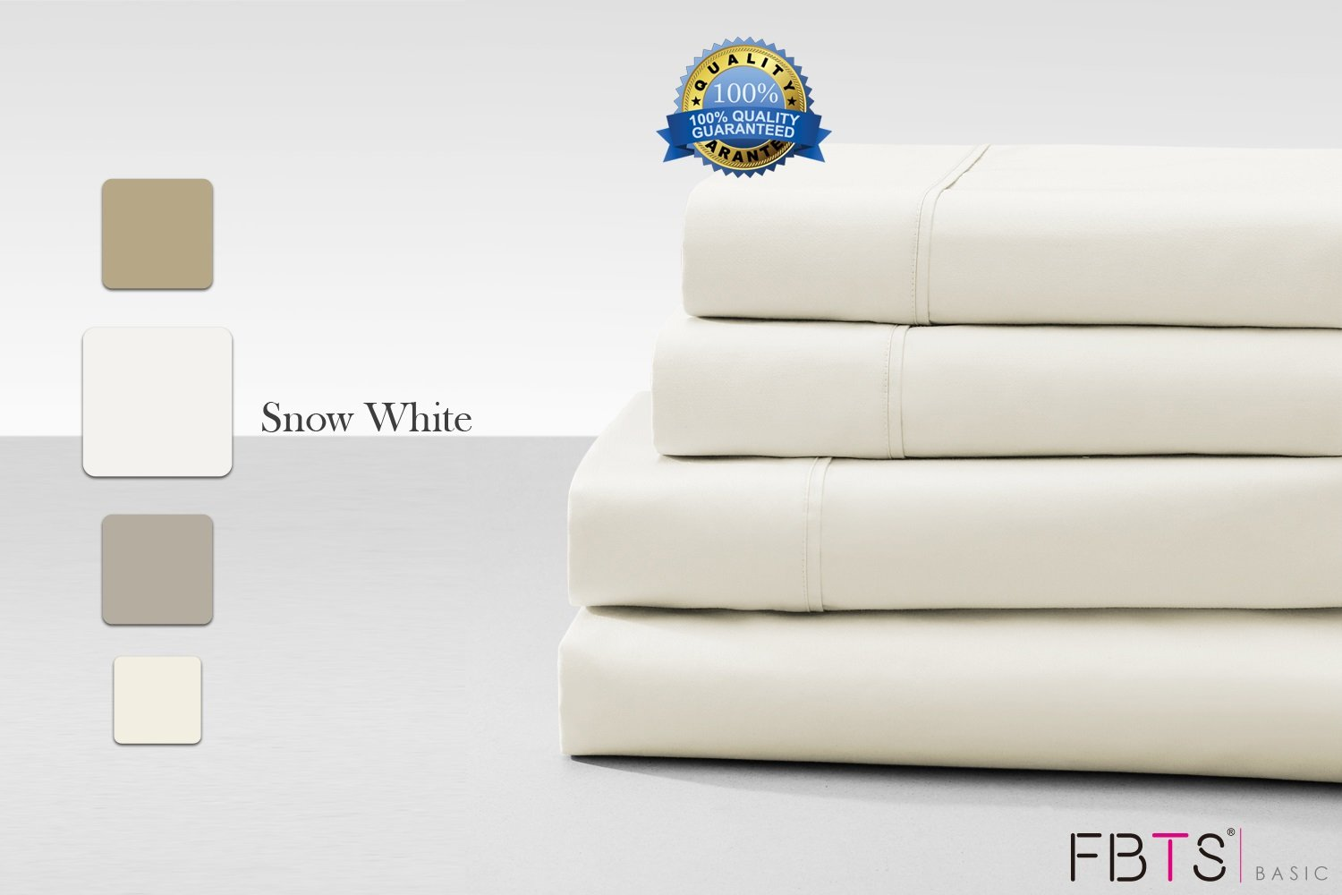 Cotton Rich Sheet Sets (California King, White) 800 Thread Count like Hotel Quality Luxury Bedding Sets with 18'' Deep Pockets 4 Piece Breathable Super Soft Bed Sheets by FBTS Basic