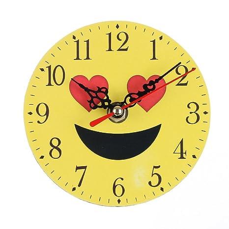 Reloj de Pared silencioso Digitales con números Romanos Emoticono Emoji para hogar y Oficina Sannysis Mecanismo