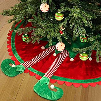 Valery Madelyn 48 Inch Delightful Elf Christmas Tree Skirt With Legs And Ripple Trim Themed With Christmas Ornaments Not Included