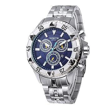 wawer Hombre Reloj Waterproof North Calendario Quartz Reloj De Pulsera Acero Inoxidable Pulsera Reloj de hombre
