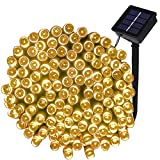 LED Solar Fairy Lights, LTE 100 LED Solar String Lights, 55ft, Outdoor Waterproof, Ideal for Decoraions, Halloween, Party, Garden, Wedding, Christmas, Thanksgiving (Warm White)