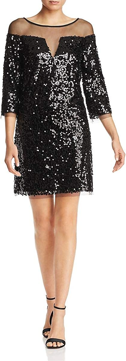 Laundry by Shelli Segal Women's Sequined Mesh Illusion Mini Dress