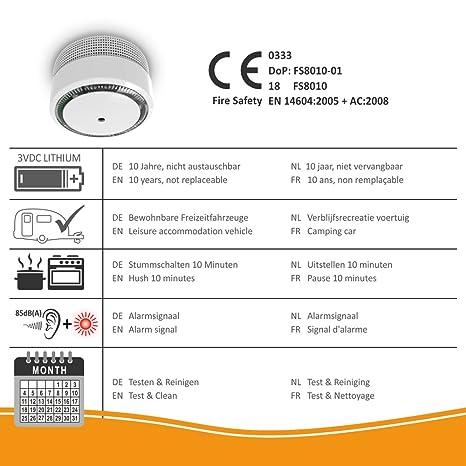 ELRO FS8010 Mini Detector de Humo con batería de 10 años-EN 14604, Blanco, 1 Stück