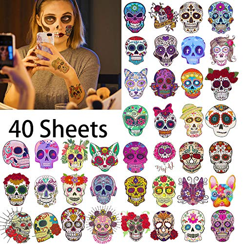 40 Pack Day of the Dead Sugar Skull Temporary Face Tattoo Halloween Makeup Tattoo for Men and Women