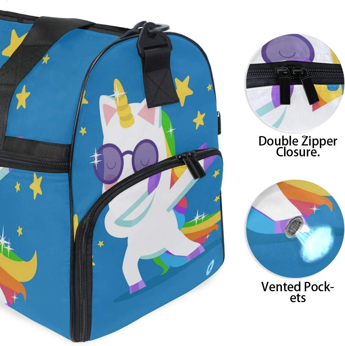 Travel Duffels Unicorn With Rainbow Hair Doing Dabbing Duffle Bag Luggage Sports Gym for Women /& Men