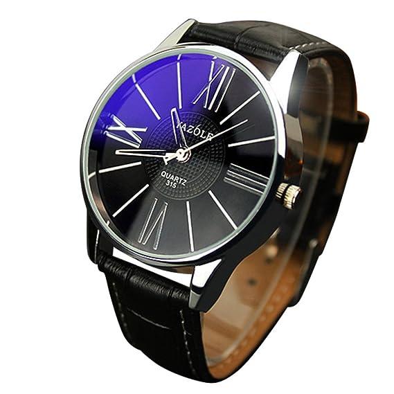Yivise Unisex Reloj de Lujo Reloj de Cuero de Moda Banda de Cristal Reloj de Pulsera Analógico de Cuarzo Simple Hombres Mujeres Relojes Casuales(B): ...