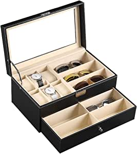 Autoark Leather 6 Watch Box Jewelry Case and 9 Piece Eyeglasses Storage and Sunglass Glasses Display Drawer Lockable Case Organizer,Black,AW-048