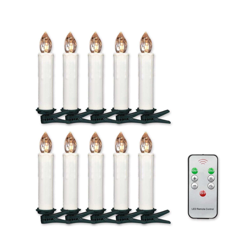 mit Fernbedienung 40er Warmwei/ß Jingrong Weihnachtsbaumkerzen LED Kabellos Flackern Dimmbar