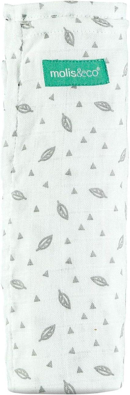 molis/&co Grande taille XL Mousseline premium super douce 70/% bambou et 30/% coton Unisexe. Imprim/é feuille grise 120x120 cm Couverture polyvalente pour b/éb/é