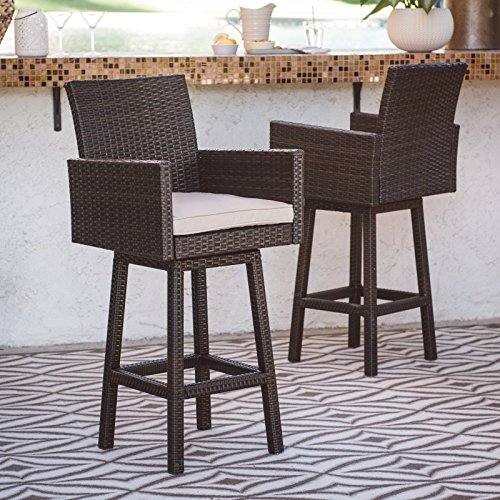 Swivel Patio Barstool - Dark Brown - Set of 2, Comfortable Olefin Cushion, Steel Frame, Dark Brown Finish, Modern Style, Finished in a Gorgeous, Dark Brown Wicker with a Cream Cushion (Cream Bar Frame Stool Only)