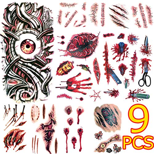 BenRan 9Pcs Halloween Temporary Tattoos Scar Tattoo Scary Vampire Zombie Ink Realistic Wounds Bruise Special Effect Makeup Tools Kit ()