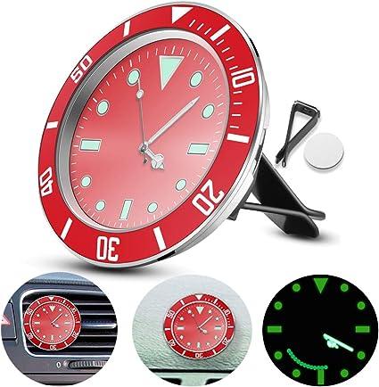 avec 3M Autocollant ALLOMN Horloge De Voiture Lumineux Dans La Nuit 1 PCS, Noir 5/×5cm Voiture Air Vent Horloge Automobile Quartz Horloge D/écoration Voiture Horloge Voiture Tableau Bord Horloge