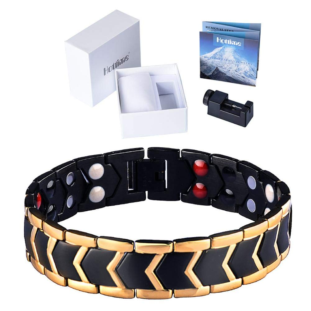 YakeHome Elegant Men Titanium Magnetic Therapy Bracelet Double Row Pain Relief for Arthritis and Carpal Tunnel