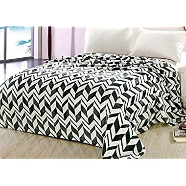 Luxorious MicroPlush Fleece Blanket Throw, Jacquard, Beautiful Arrow Design, Le Benton - King 102 x 86, Black/White