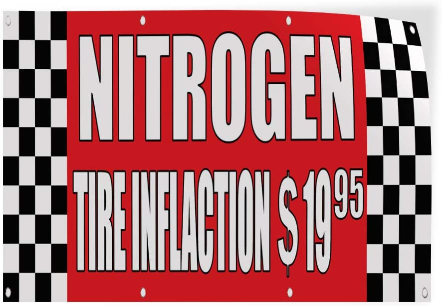 72inx48in Decal Sticker Multiple Sizes Nitrogen Tire Inflation $19.95 Auto Body Shop Automotive Nitrogen Outdoor Store Sign Red Set of 2