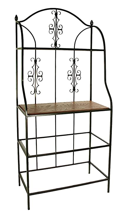 amazon com grace gothic bakers rack with 1 wood shelf 3 glass rh amazon com Corner Wine Glass Rack Glass and Metal Bakers Rack