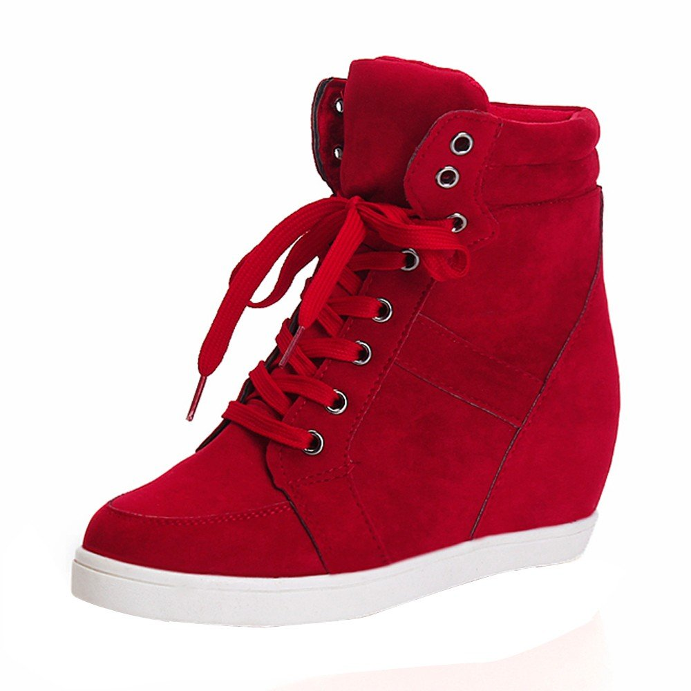 Shoes For Womens -Clearance Sale ,Farjing Fashion Women Round Toe Lace-up Leather Boots Casual Party Shoes(US:7.5,Red )