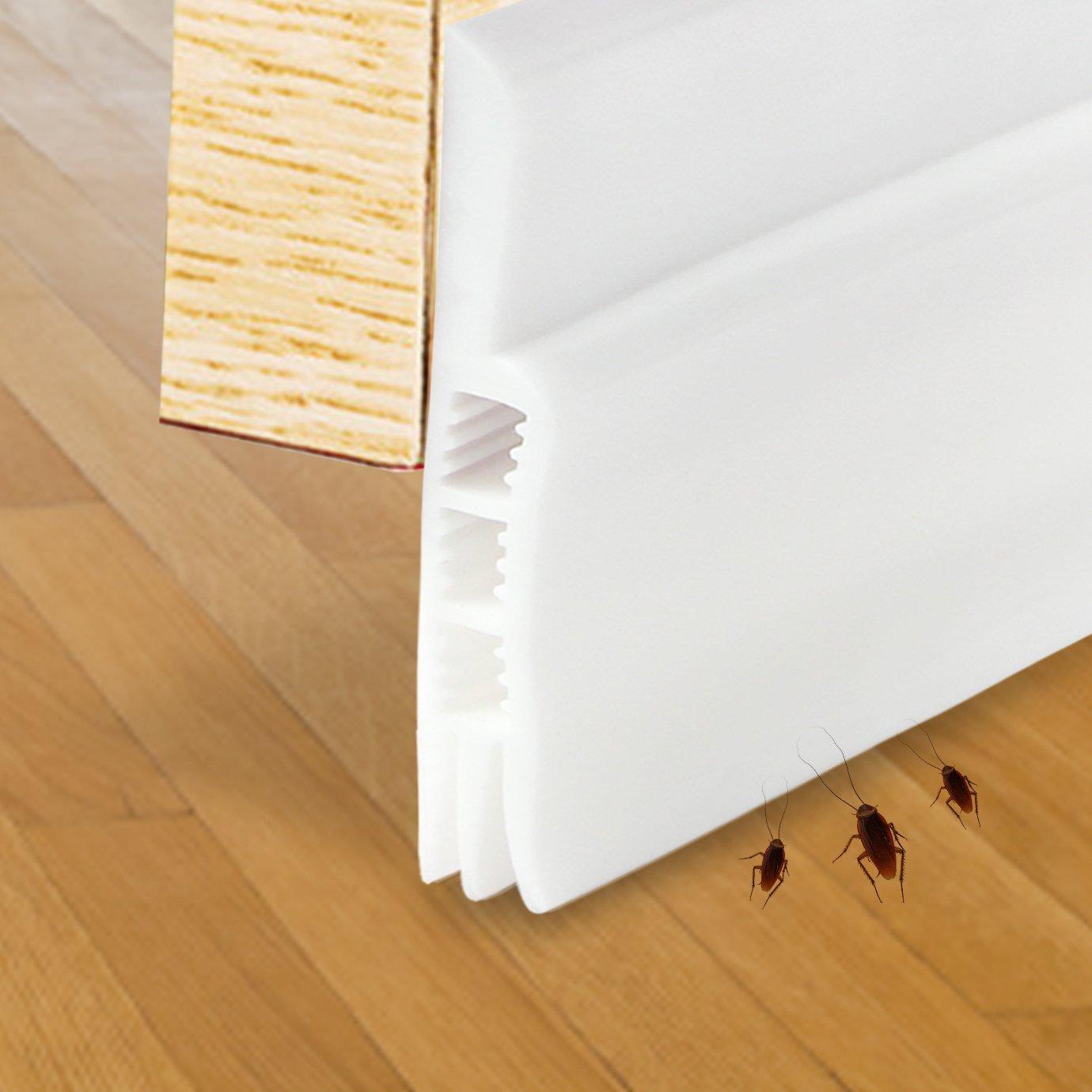 """Under Door Sweep 2"""" Width x 39"""" Length, Door Draft Stopper Weather Stripping Door Bottom Seal Strip(White)"""