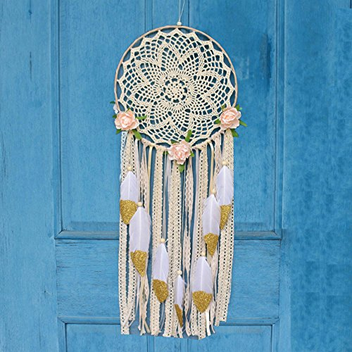 """EasyBravo Large Boho Dream Catcher with Glitter Gold Feather Macrame Wall Hanging for Vintage Wedding Home Decorations 27.6"""" Long"""