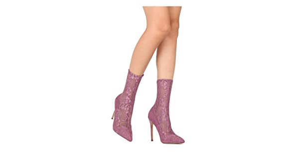 717c33790891 Liliana Women s Closed Pointed Toe Floral Lace Stiletto Heel Ankle Bootie