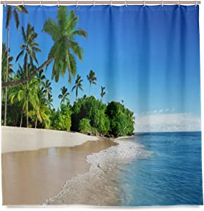 DZGlobal Hawaiian Beach Shower Curtain with Hooks 3D Printed No-Fade Summer Fun Sea Palm Tree Blue Ocean and Sky Bathroom Decor Cloth Polyester Fabric Shower Curtains Set with Size 60x72 Inch
