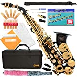 320-BK - BLACK/GOLD Keys Curved Bb Soprano Saxophone Lazarro++11 Reeds,Music Pocketbook,Case,Care Kit - 24 COLORS - SILVER or GOLD KEYS - CHOOSE YOURS !