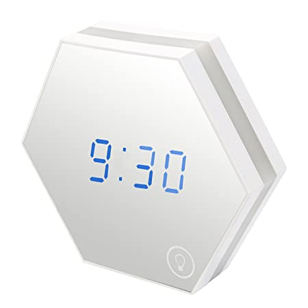 Travel Mirror Alarm Clock Night Light Rechargeable Digital with Led Table Lamp