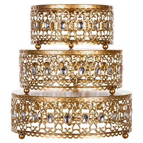 3-Piece Metal Cake Stand Risers Set with Crystal Rhinestones (Gold) (Gold) by Amalfi Décor (Image #1)