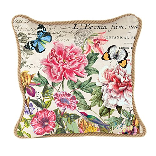 Michel Design Works Decorative Square Throw Pillow, 18 x 18-Inch, Peony (Pillow Peony)