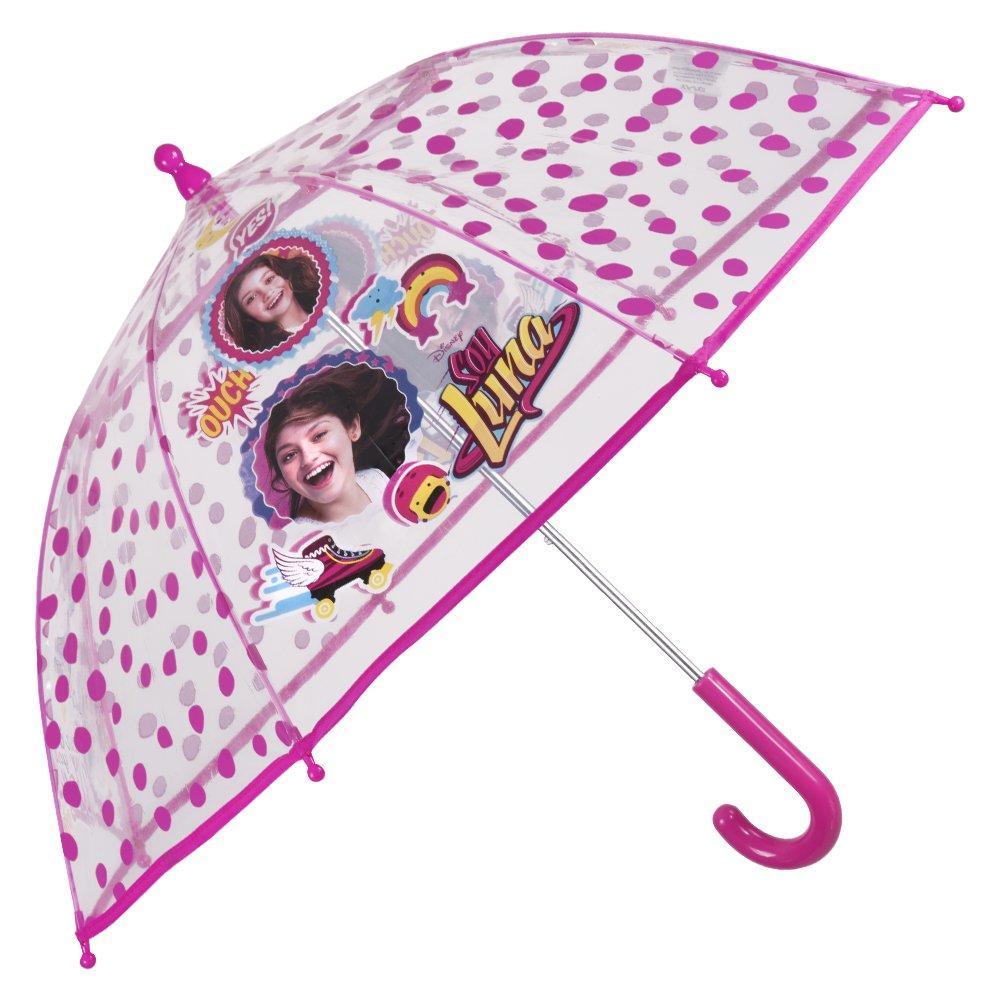 Paraguas Disney Soy Luna de Niña - Paraguas transparente de burbuja resistente antiviento y largo - Apertura de seguridad - 3-6 Años - Fucsia - Diámetro 64 cm - Perletti 50202