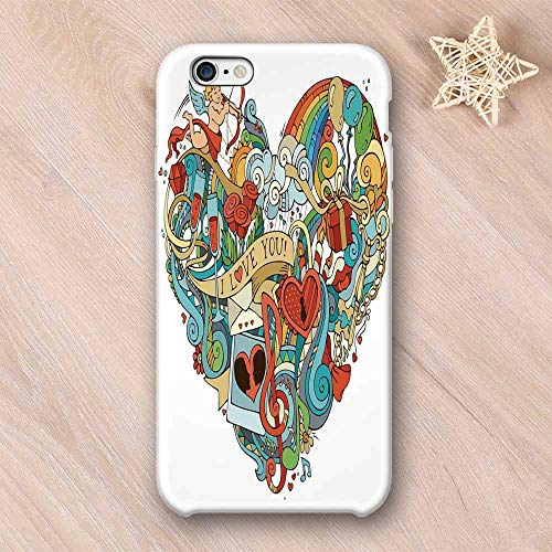 I Love You No Odor Compatible with iPhone Case,Love with Eros Arrow Music Present Boxes Swirls Balloons Ring Marry Me Concept Compatible with iPhone 7/8 Plus,iPhone 6/6s