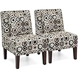 Best Choice Products Set of 2 Living Room Furniture Armless Accent Chairs w/Pillows - Geometric Circle Design