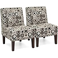 Best Choice Products Set of 2 Living Room Furniture Armless Accent Chairs w/ Pillows - Geometric Circle Design