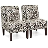 Best Choice Products Set of 2 Living Room Furniture Armless Accent Chairs w/Pillows – Geometric Circle Design