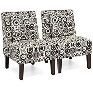 Best Choice Products Set of 2 Living Room Armless Accent Chairs w/Pillows – Geometric Circle Design