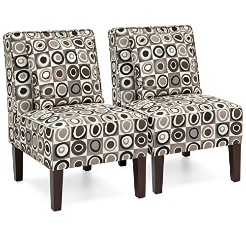 Best Choice Products Set of 2 Living Room Armless Accent Chairs w/Pillows - Geometric Circle Design