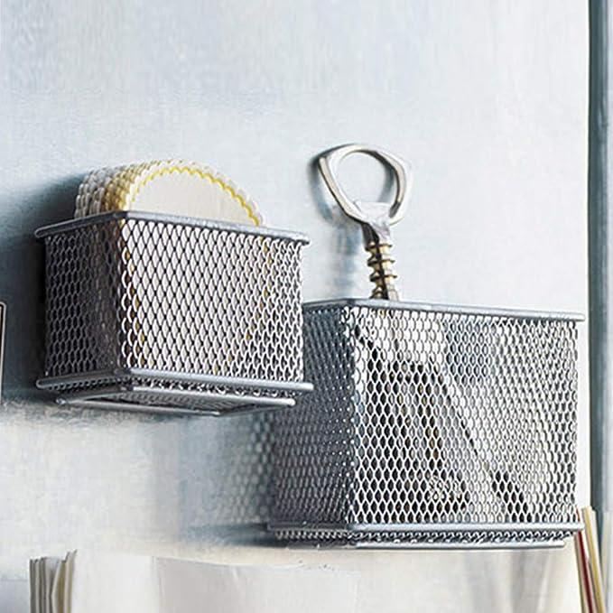 refrigerador para taquilla Accesorios de almacenamiento para la cocina en casa u oficina soporte de almacenamiento para colgar Cesta de alambre magn/ética pizarra blanca