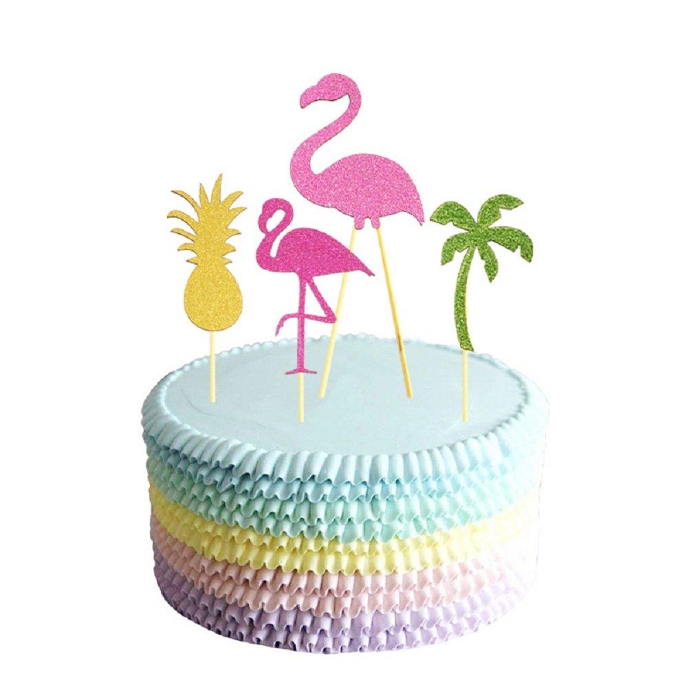 JANOU Hawaii Cake Topper Flamingo Pineapple Coconut Tree Cake Picks for Luau Beach Party Decoration Pack 12pcs