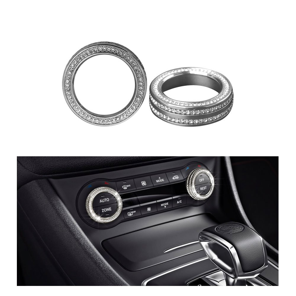 1797 Mercedes Accessories Benz Parts AC Air Conditioner Control Knob Regulator Caps W204 W246 C117 X156 C W166 CLA GLA GLE Covers Decals Sticker Interior Decorations AMG Women Men Bling Crystal Silver