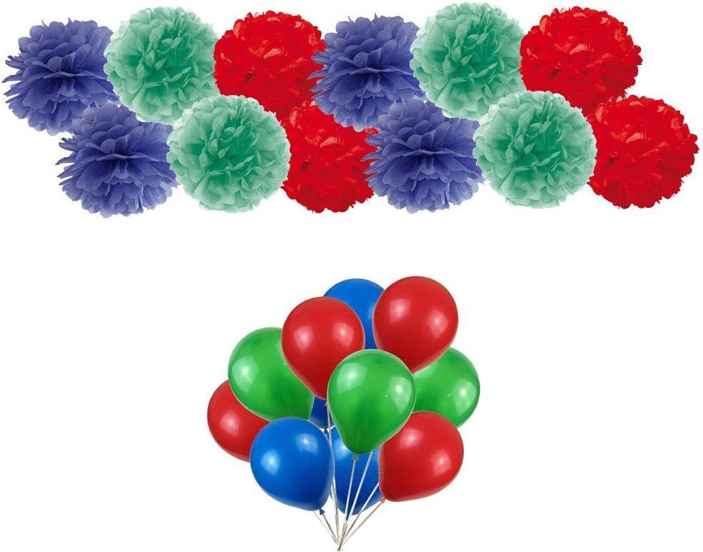 Irpot 50 Globos + 9 Fiesta temática Fluff 3 Colores (Rojo - Azul - Verde PJ Mask Theme)