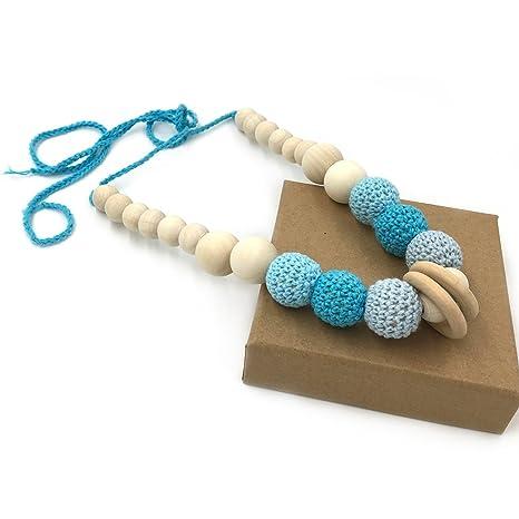 Coskiss Azul Collares de ganchillo Collar de dientes de bebé Collar de dentición seguro con juguete de madera hecho a mano natural orgánica Mamá ...