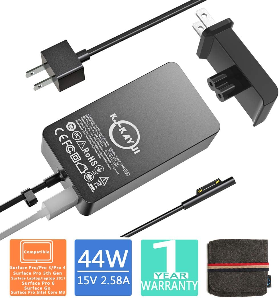 Surface Pro Charger,44W 15V 2.58A Power Supply,Compatible Microsoft Surface Pro 3/4/5/6/7/X,Surface Laptop/2/3,Surface Go/Go 2,Surface Book/Book 2,with 6.2 Ft Cable Wall Plug and Travel Case