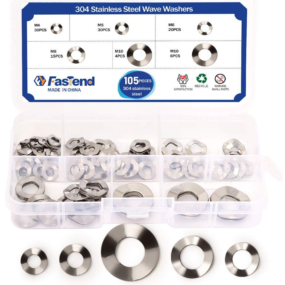 105Pcs 304 Stainless Steel Wave Washers Anti Loosing M4//M5//M6//M8//M10 for Screw Bolt