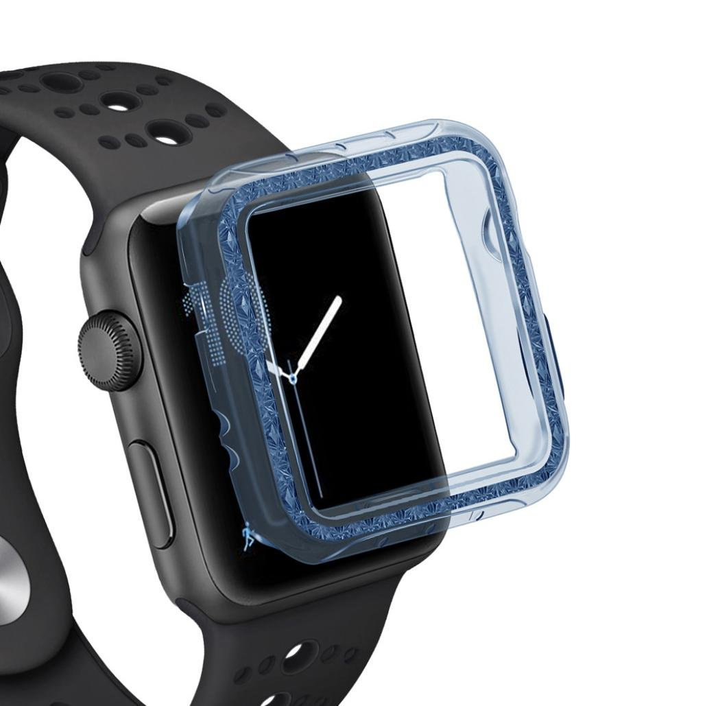HighlifeS Apple Watch Case Buit in TPU Screen Protector All-around Protective Case High Definition Clear Ultra-Thin Cover for Apple Watch 38mm/42mm Series 3/2 (Blue, 38mm)