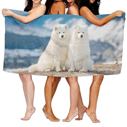 LUOL Toalla de playa divertida personalizada Cool Two Kawaii Samoyed perro microfibra hogar baño hotel baño