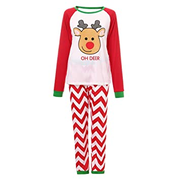Matching Family Pajamas Boys Pjs for Girls Christmas OH DEER Striped Clothes  Women Cotton Clothes Sleepwear 82585880c