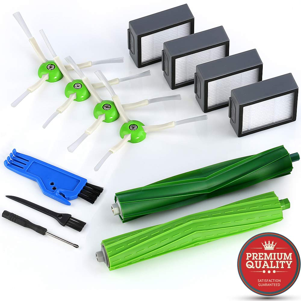 MONATA Replacement Accessories Parts Replenishment Kit for iRobot Roomba i7 i7+ e5 e6 with 4 High Effiiciency Filters 4 Edge Sweeping Brushes 1 Set of Dual Multi Surface Rubber Brushes by MONATA